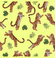 seamless pattern with jumping tigers and tropical vector image vector image