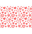 seamless pattern with various red hearts vector image vector image