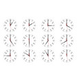 set of clock dials showing various time isolated vector image