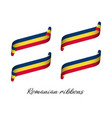 set of four modern colored romanian ribbons vector image vector image