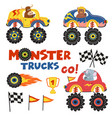 set of isolated monster trucks with animals part 2 vector image vector image