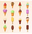set of various ice-cream cones vector image