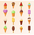 set various ice-cream cones vector image vector image