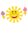 Smiling happy sun holding ice cream isolated vector image vector image