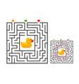 square maze labyrinth game for kids with rubber vector image vector image