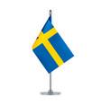 swedish flag hanging on the metallic pole vector image