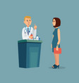 the patient is at the doctors reception vector image