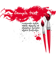 two brushes and red banner vector image vector image
