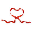 valentine day realistic heart from red silk ribbon vector image vector image
