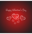 Valentines card with glowing hearts on brigth red vector image vector image