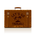 vintage brown threadbare suitcase with straps and vector image