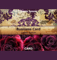 vintage business card with rose flowers vector image