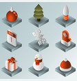 winter gradient isometric icons vector image