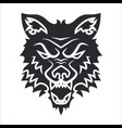 wolf head silhouette label tattoo vector image vector image