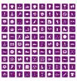 100 athlete icons set grunge purple vector image vector image