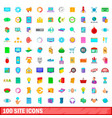 100 site icons set cartoon style vector image vector image