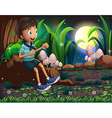a young boy sitting above roots a giant vector image vector image