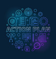 action plan round blue modern outline vector image