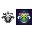 aliens emblem two styles black and colored vector image vector image