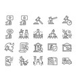 auction line icon set vector image vector image