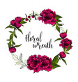 beautiful wreath with peony flowers and space vector image vector image
