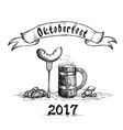 beer wooden mug with sausage sketch oktoberfest vector image