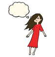 cartoon ghost like girl with thought bubble vector image vector image