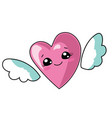 cartoon heart with wings vector image