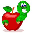 caterpillar and apple vector image vector image