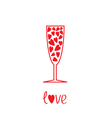 champagne glass with hearts inside card vector image