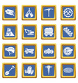 coal mine icons set blue square vector image vector image