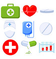 colorful cartoon 9 medical icon set vector image vector image
