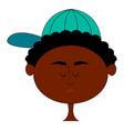 cute black boy wearing a blue hat on white vector image vector image