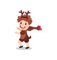 cute little boy in the costume of reindeer kid in vector image vector image