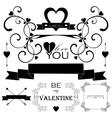 Decorative set of artistic valentins day elements vector image vector image