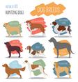 Dog breeds Hunting dog set icon Flat style vector image vector image