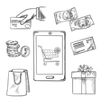 E-commerce and shopping sketch icons vector image vector image