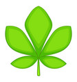 five lobes green leaf icon cartoon style vector image vector image
