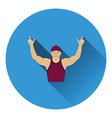 Football fan with hands up icon vector image vector image
