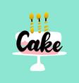 greeting cake handwritten postcard vector image vector image