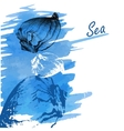 Handdrawn seashells on a watercolor sea background vector image