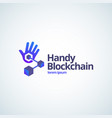 handy blockchain technology absrtract sign vector image