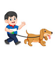 happy boy walking with his dog vector image vector image