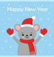 little cute mouse in a red santa s cap and scarf vector image vector image