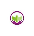 lotus flower hand logo vector image vector image