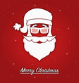 merry christmas card with santa claus in glasses vector image vector image