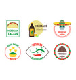 mexican food badges or labels set vector image vector image