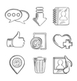 Multimedia and social media sketched icons vector image vector image
