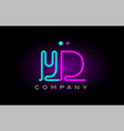 neon lights alphabet yd y d letter logo icon vector image