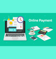 paying bills online via credit card on laptop vector image vector image